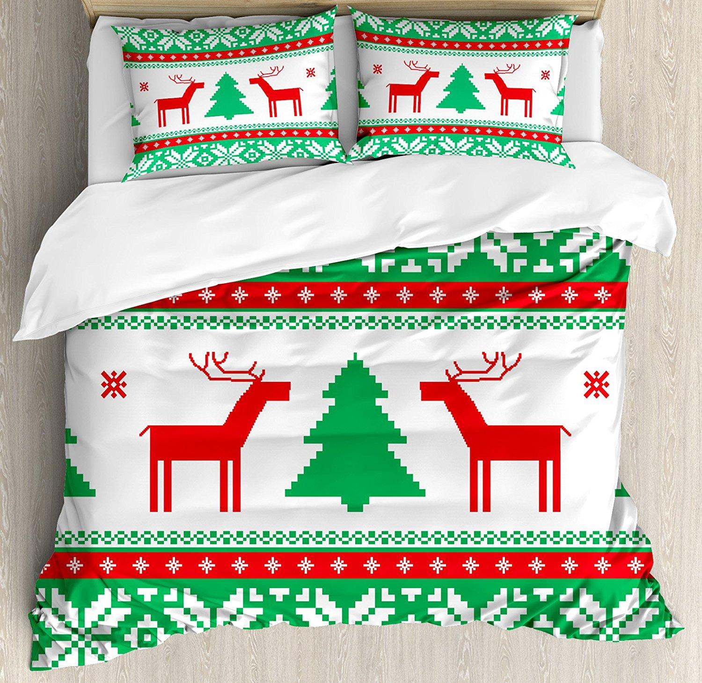 Постельные принадлежности Рождество Аксессуары Набор пододеяльников для пуховых одеял набор на Ambesonne, вязать Стиль Графический оленей Star С