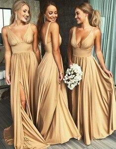 Image 3 - סקסי שושבינה שמלות 2020 שרוולים V מחשוף ללא משענת סאטן העבאיה gece שמפניה שמלה למסיבת חתונה