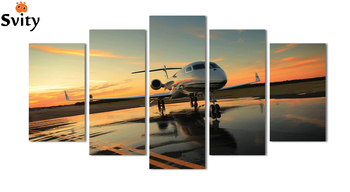 High-quality Modern Printed On Canvas plane painting for living room decoration 5pcs/set wall landscaping canvas prints MS0046