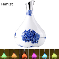 Blue and White Porcelain Essential Oil Diffuser 300ml Air Humidifier 7Color LED Light Aroma Diffuser Aromatherapy Mist Maker Beauty Tools