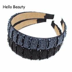 Yeni Moda El Yapımı Donanma Kristal Boncuk Saç Bandı Geniş Boncuklu Kafa Bandı Siyah Rhinestone saç aksesuarları Kadınlar Kızlar Için