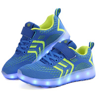 Boy Girl Sneakers Running Shoes Led Light 2018 Fly Weave USB Non Slip Wear Resisting Kids