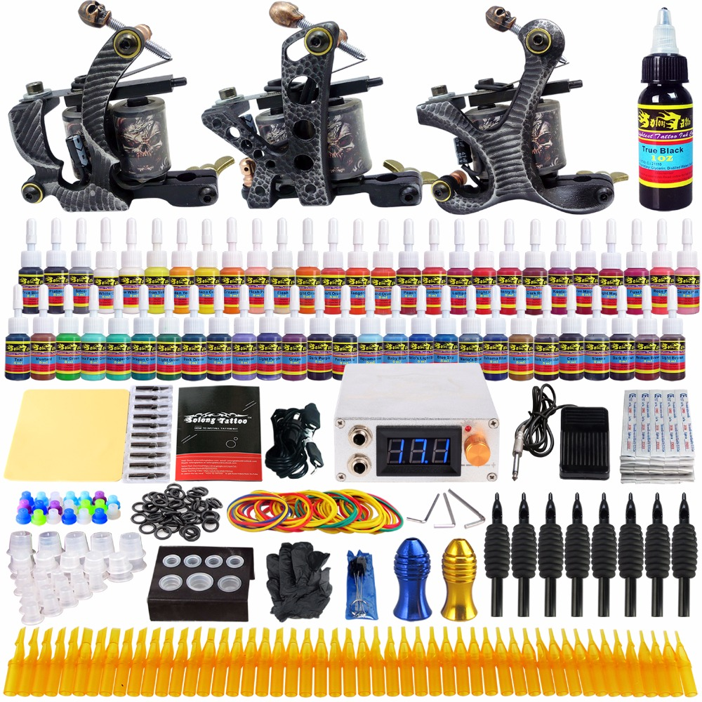 Solong Tattoo complete professional 3 tattoo Machine Guns set Tattoo Kit 54 Inks Power Supply Needle Grips power supply TKc01 europe god of darkness robert recommend gp self lock grips gp3 professional tattoo artist grip