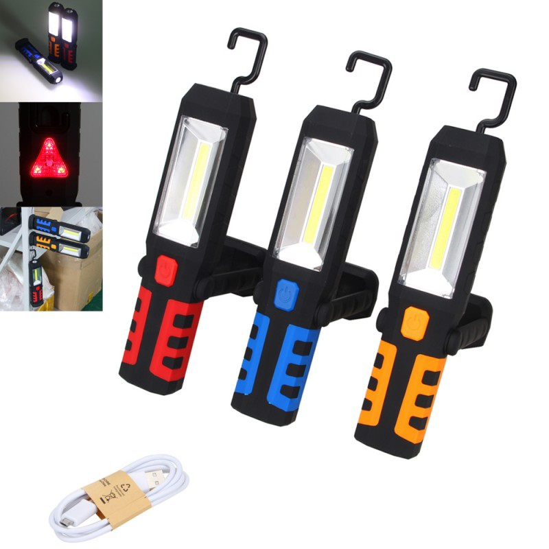 COB LED Magnetic Work Light Car Garage Mechanic Home Rechargeable Torch Lamp Stand Hanging Portable lantern USB Rechargeable in Portable Lanterns from Lights Lighting