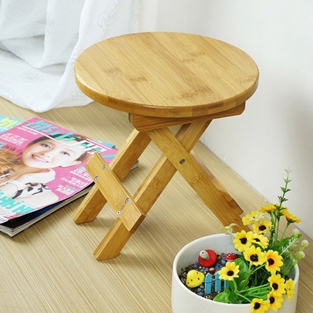 High quality Bamboo made Small Bench Portable Fishing Stool Wood Folding Stool Cheap and Good Home Furniture