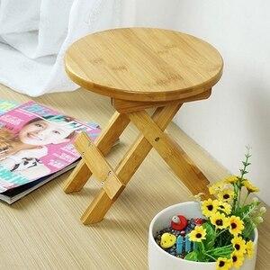 Image 1 - Wysokiej jakości bambusowa mała ławka przenośna taboret do wędkowania składany stołek drewniany tani i dobry dom umeblowanie