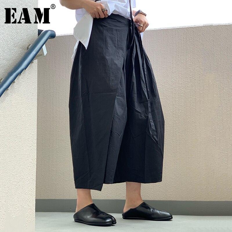 [EAM] 2019 New Spring Summer High Elastic Waist Loose Black Pleated Split Joint   Wide     Leg     Pants   Women Trousers Fashion JX082
