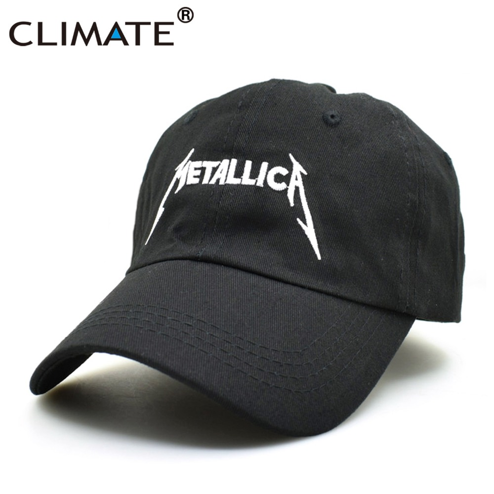 CLIMATE Women Men Cool Rock Black Baseball Caps Metallica Band Fans Cap Metal Rock Music Fans Cotton Baseball Trucker Caps Hat brushed cotton twill ivy hat flat cap by decky brown