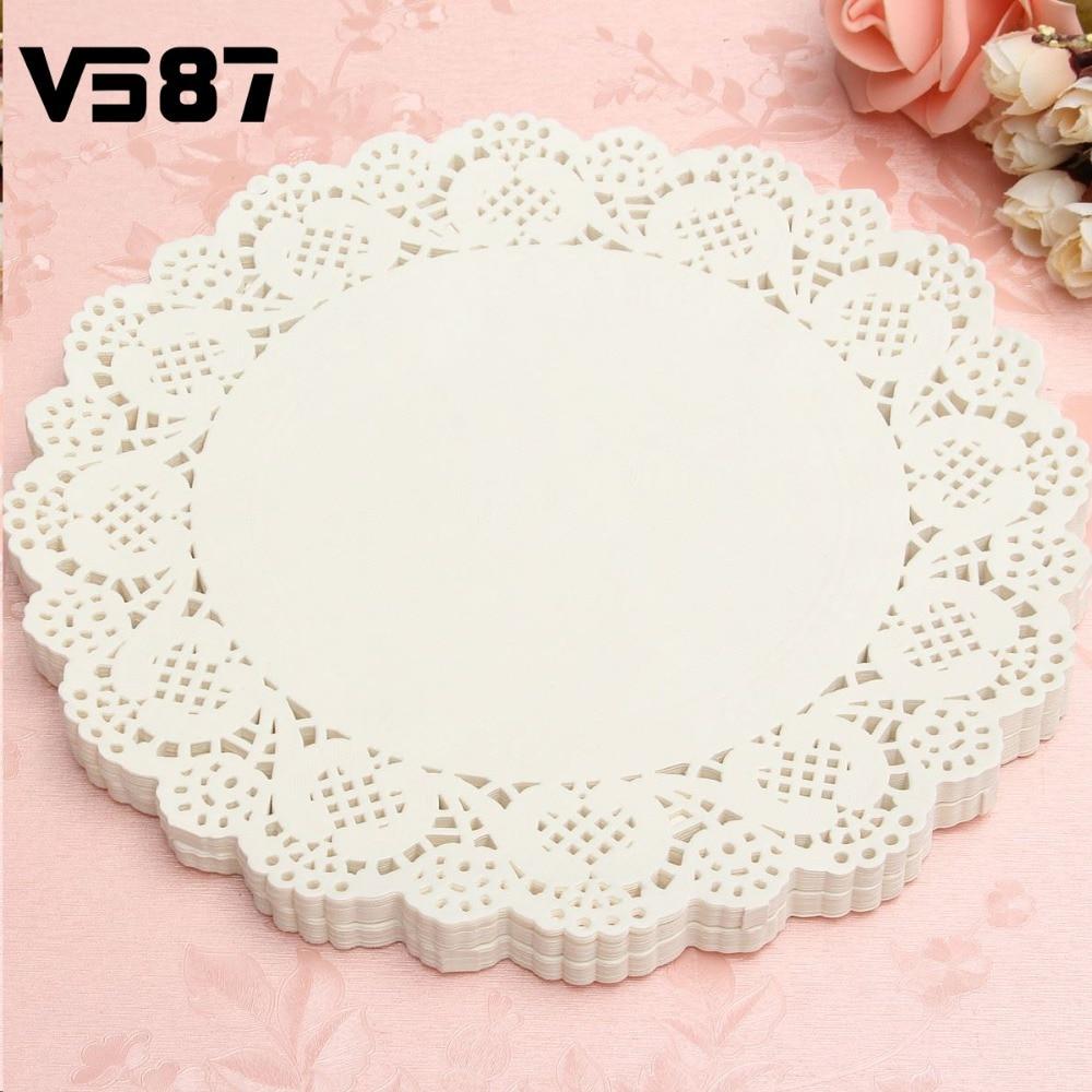 120pcs White Round Lace Paper Doilies Plates Mats Coasters