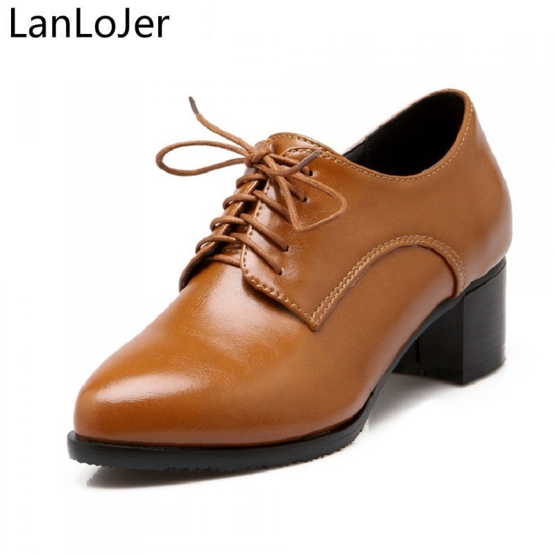 LanLoJer Shoes Women Thick Heels Causal Shoes Lace Up Pumps Vintage Mid Heels Pointed Toe Shoes Female 2018 Brown Black Big Size