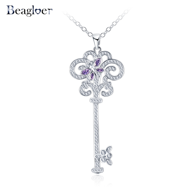Beagloer trendy key pendant necklace flower design purple zircon beagloer trendy key pendant necklace flower design purple zircon necklaces white gold color fashion party jewelry aloadofball Image collections
