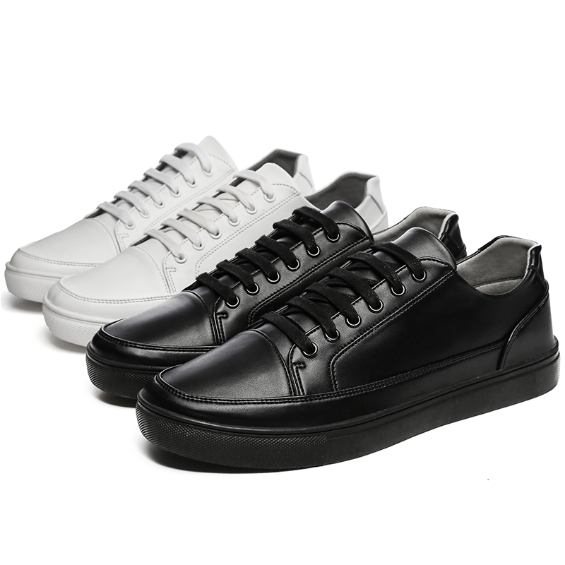 Allwesome Men Leather White Chunky Shoes Retro Stylish Vulcanized Rubber Shoes Flat Designer Sneakers High Fashion Bambas Hombre in Men 39 s Vulcanize Shoes from Shoes