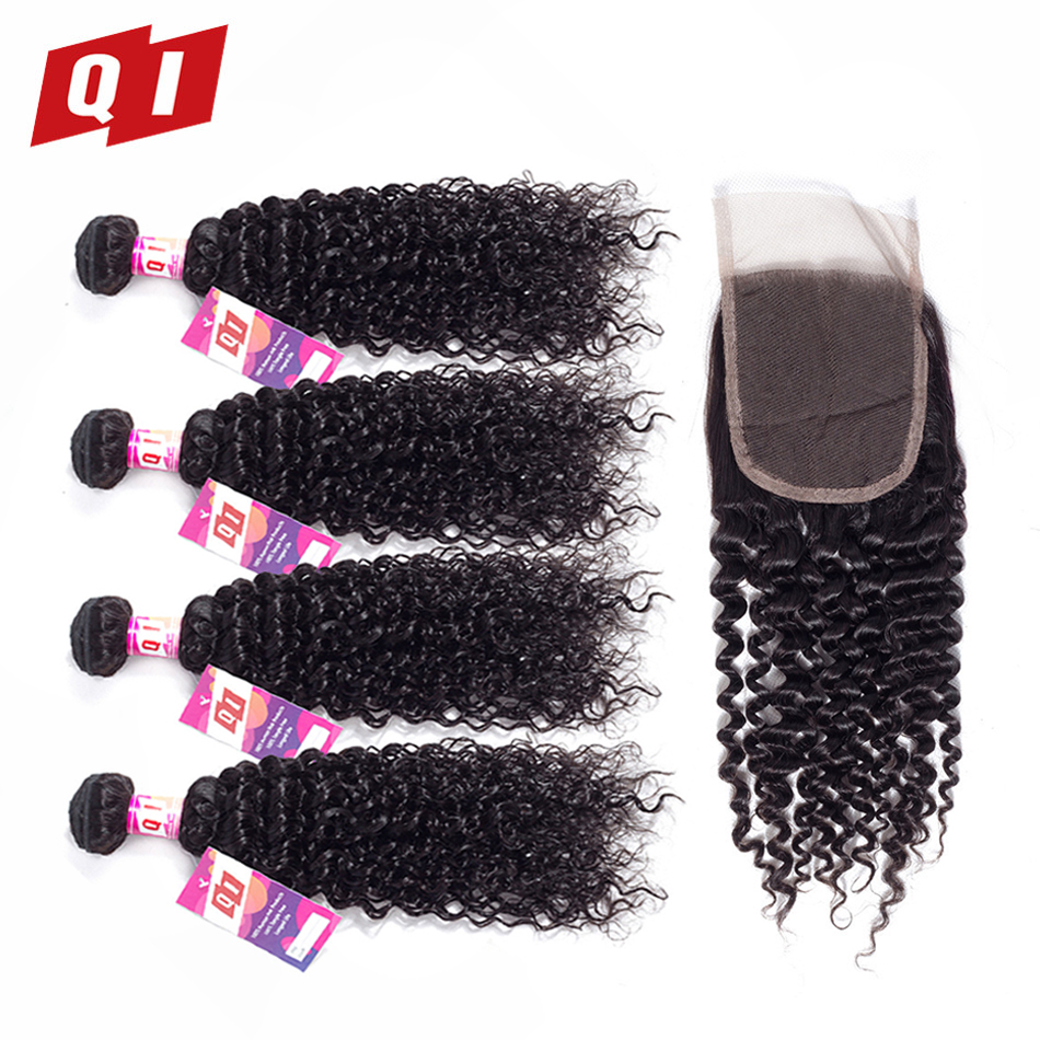 QI Hair 4 Bundles With 4*4 Lace Frontal Closure 100% Non Remy Human Hair Indian Kinky Curly Natural Color Hair