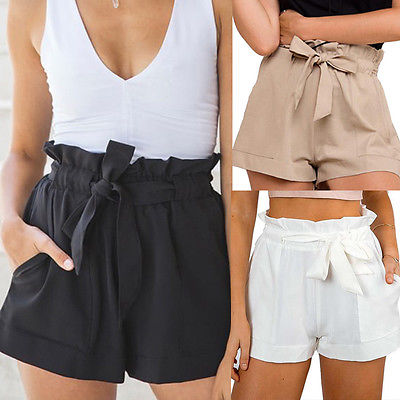 New Arrivals Ladies Women Casual High Waist Crepe Woven Tie Belt Shorts Hotpants Solid Shorts