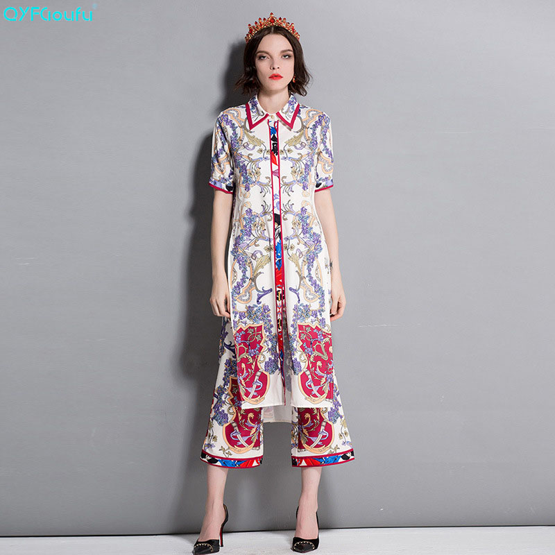QYFCIOUFU 2018 Summer Fashion Runway Designer Two Piece Set Women Short Sleeve Printed Long Blouse Vintage Flare Pants Set Suit