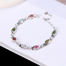 gemstone jewelry factory wholesale white gold 925 sterling silver natural colorful tourmaline adjustable bracelet for women
