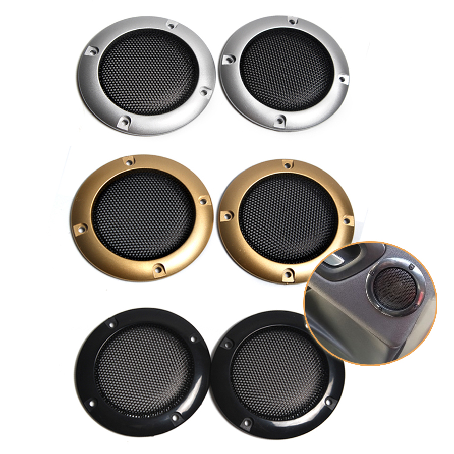 2PCS 2INCH Speaker Net Cover High-grade Gold Silver Mesh Enclosure Plastic Frame Protective Grille Circle Speaker Accessories