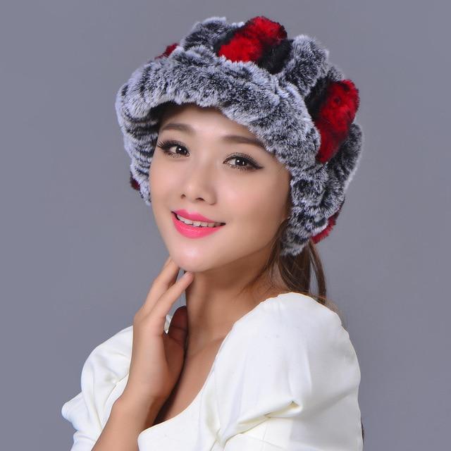 Empty Top Hat Female Winter New Rex Rabbit Fur Hat Thick Warm Korean Ear protecting Headgear Beanies Hat Cap Real Fur Headwear