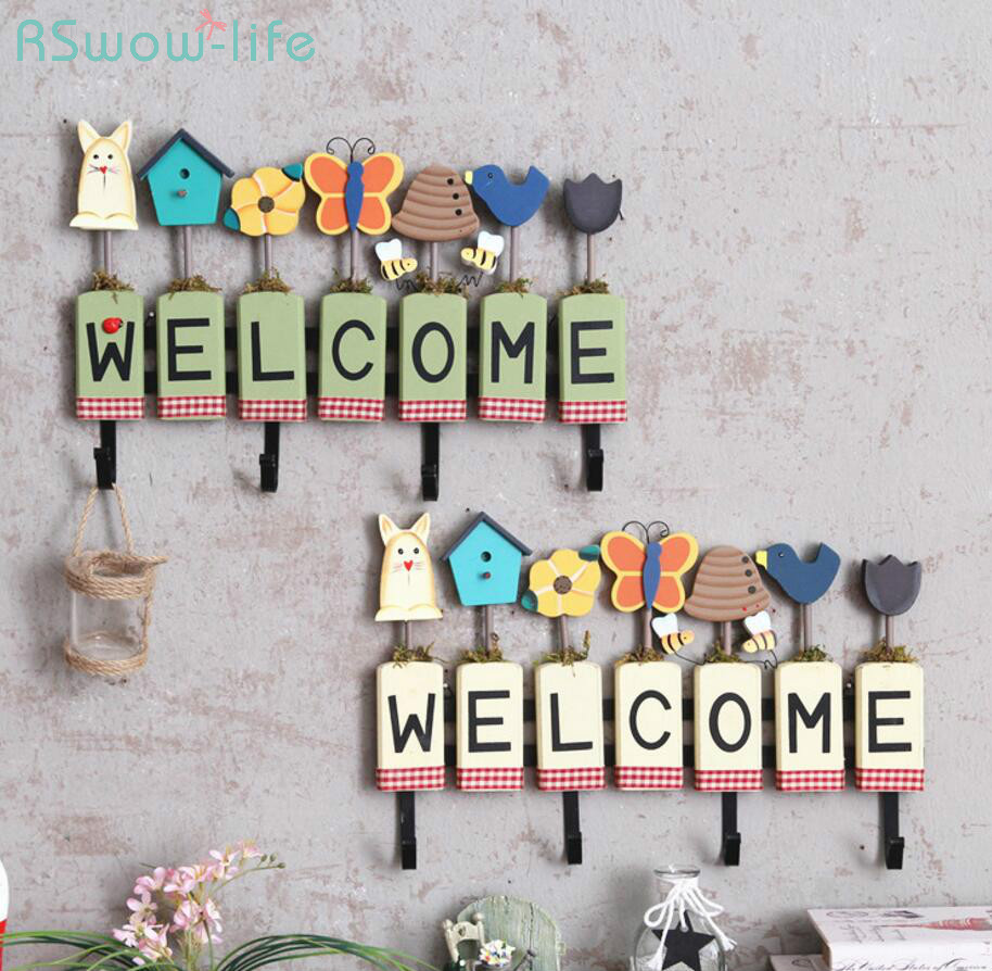Wooden Crafts DIY Welcome Wall with Hooks Door Decoration Ornaments Festival Party Supplies