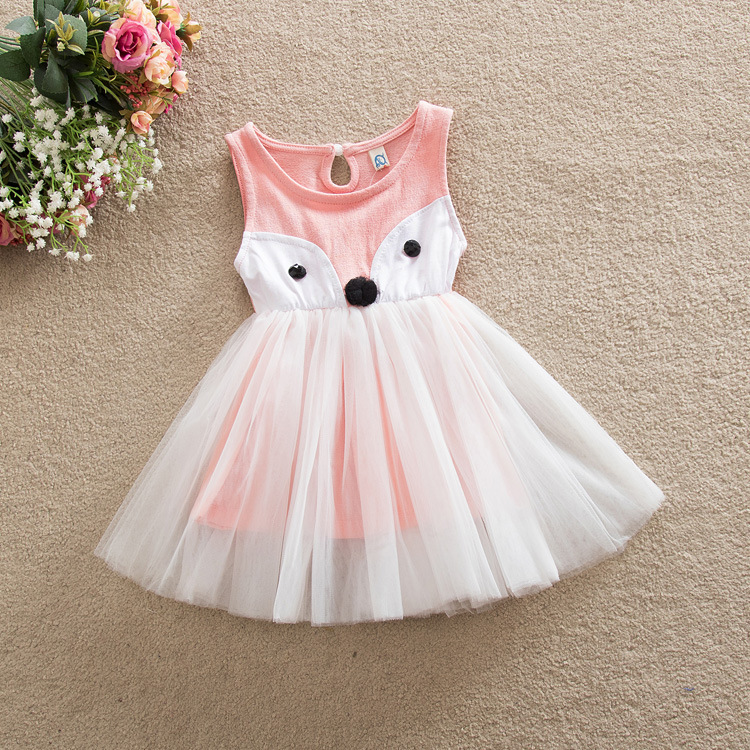 New Baby Girl Summer Dress Cartoon Fox Sleeveless Mesh Tutu Dress Girls Children Vestidos Free Ship