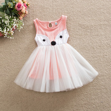 цена на New Baby Girl Summer Dress Cartoon Fox Sleeveless Mesh Tutu Dress Girls Children Vestidos Free Ship