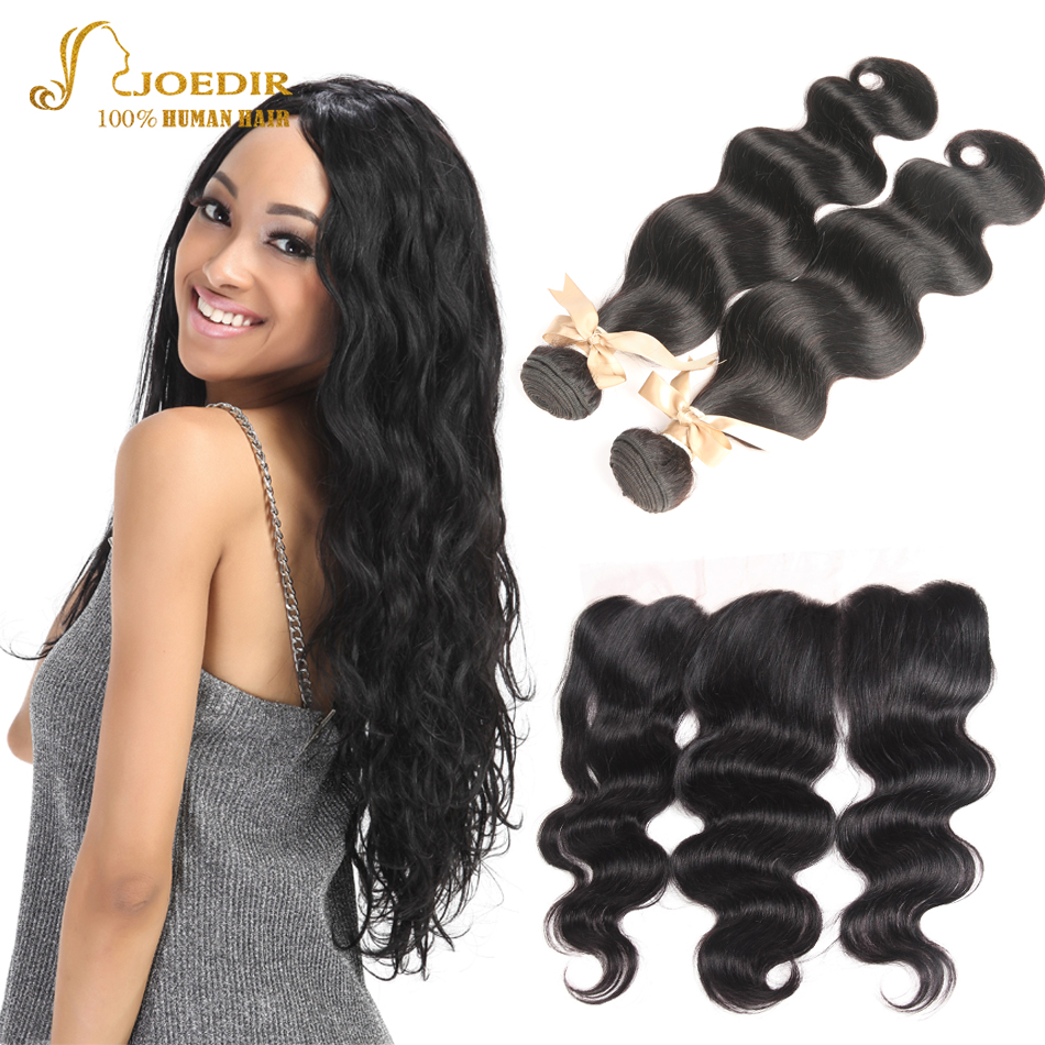 Joedir 13x4 Lace Frontal with Bundles Malaysian Body Wave Hair Bundles with Frontal Closure Pre Plucked Human Hair Extensions
