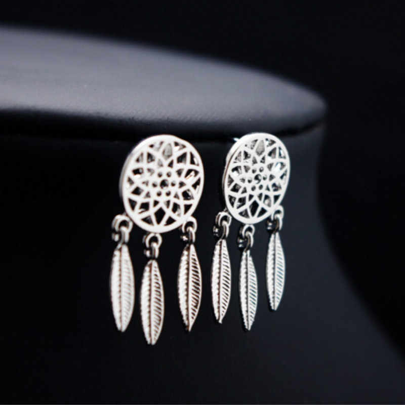 Moda srebrna płyta Bohemia narodowość z indiańskim pióropuszem łapacz snów Dreamcatcher Drop Errings dla kobiet biżuterii
