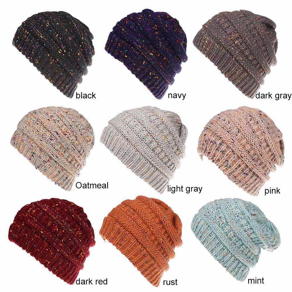 bb941c05787 Winter Warm Trendy Slouchy Chunky Knit Beanie Hat for Women Messy Bun  Ponytail Cap