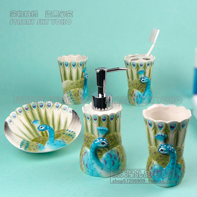 Ceramic Peacock Toothbrush Holder Soap Dish Bathroom Accessories Set Kit  Cup Wedding Gifts Crafts Home Decor