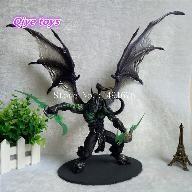 29cm WOW Demon Form Illidan Action Figures Toys Dota 2 Demon Hunter PVC Collectible Figures Model Dolls Children Gifts