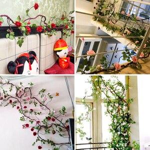 Image 4 - Erxiaobao flores artificiales largas de seda falsa, rosa, flor, enredadera, bastón de ratán, fiesta en casa, boda, pared, puerta, estantería, decoración