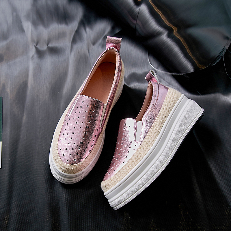 Shoes Woman Leather Sneakers Women Platform Shoes Pink Blue Breathable Fashion Sneakers 2019 4 5cm
