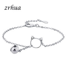 ZRHUA High Quality S925 Silver Chain Link Bracelet Fit European Charm Bracelet for Women Lovely Cat DIY Jewelry Making Bangles(China)