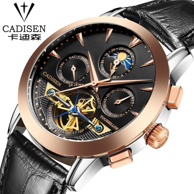 2016 Switzerland luxury men's watche cadisen brand Mechanical Wristwatches Waterproof leather watch Fashion leisure watches rga r 981 sports watche red