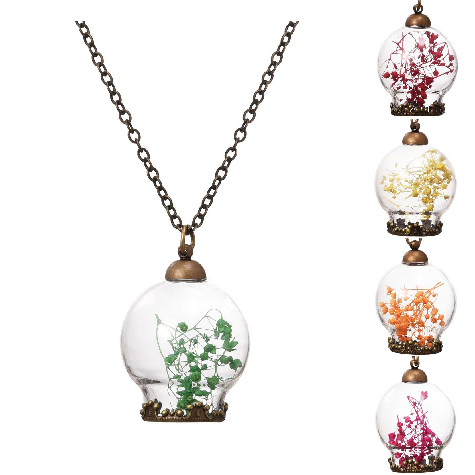 Wish Bottle Necklace Bronze Plated with Dried Flower Choker Pendant Neklace for Women Wedding