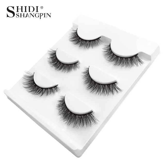 SHIDISHANGPIN 3 pairs mink eyelashes natural false lashes wispy 3d mink lashes makeup false eyelashes eyelash extension lashes 3