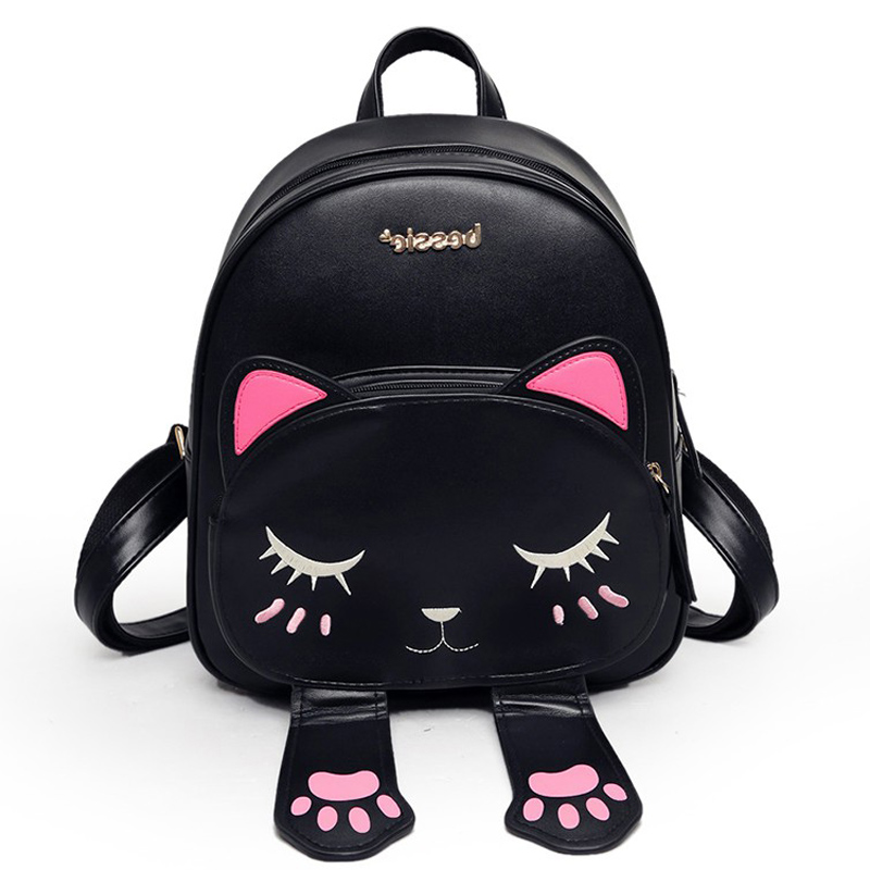 Cute Cat Backpack Women Fashion PU Leather Backpacks For Teenage Girls Cats Ears High Quality Female School Bags Preppy Style new women pu leather backpack minimalist solid black high quality tassel bags for teenagers girls preppy style string backpacks