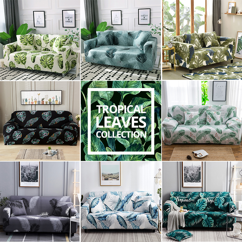 Tropical Leaves Collection Stretch Sofa Cover For Living Room Armchair Sofa Slipcover Elastic Couch Cover Case 1 2 3 4 Seater