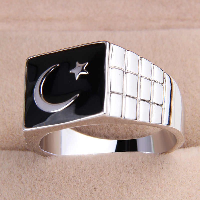 fashion men's alloy black enamel star flag finger ring US 8/8.5/9/9.5/10.5/11/11.25 size one piece xydr188