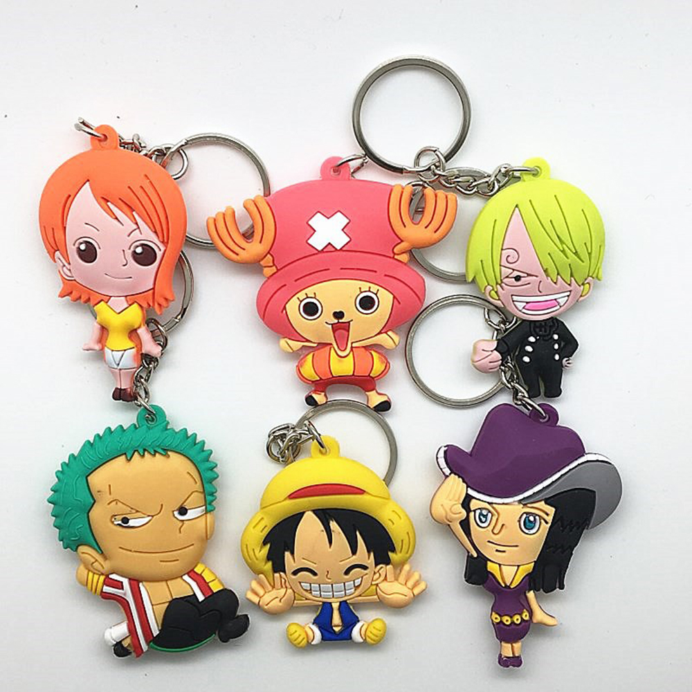 1PCS cartoon characters keyring Chaveiros Porte Clef Animation One Piece Luffy Roronoa Choppe Sanj Zoro Hand Keychain Anime PVC