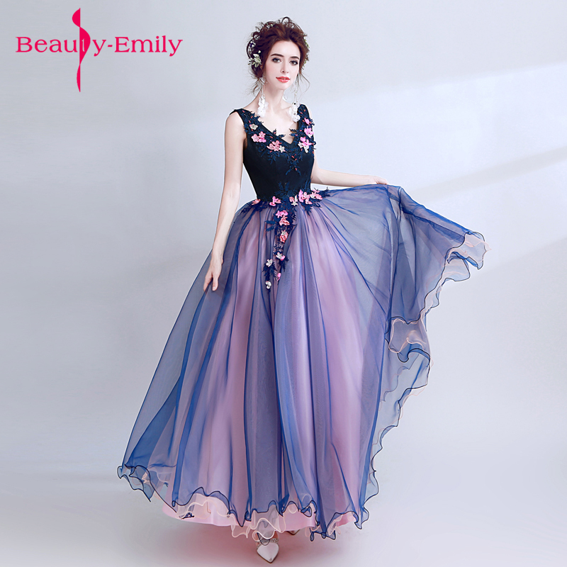 Beauty-Emily Elegant De Festa Fairy style   Evening     Dresses   Prom Gowns A Line long 3d flower decor chiffon Homecoming   dresses