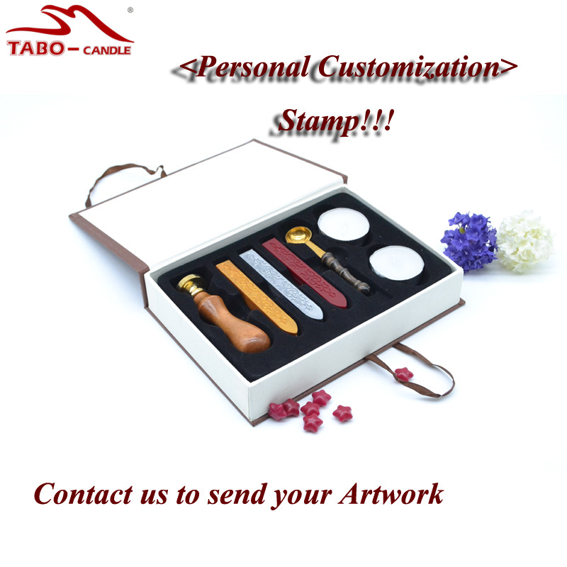 Wax Sealing Set In Elegant Box for Wedding Invitation Decoration with Custom Made Stamp - Tealight, Wax Stick & Spoon Included 1 design laser cut white elegant pattern west cowboy style vintage wedding invitations card kit blank paper printing invitation