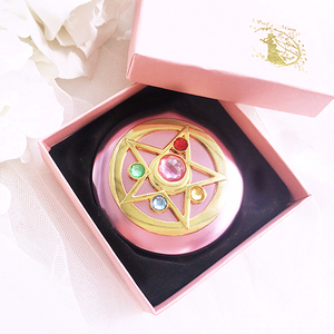 Image 3 - Sailor Moon Crystal Pink Metal Compact Mirror Case Moonlight Memory Series Women Girls Cosplay Cosmetic Make up Mirror + Box