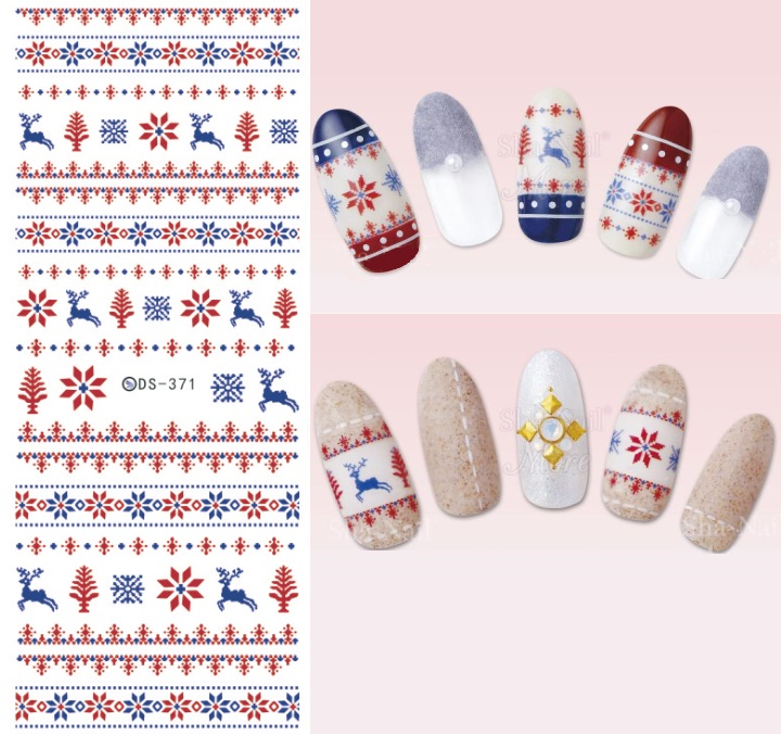 DS371 DIY Design Water Transfer Nails Art Sticker Colorful Reindeer Xmas Tree Winter Nail Stickers Wraps Foil Sticker manicure 2016 cartoon design nail art manicure tips water transfer nail stickers paradise vacation desgins nails wraps collections decor