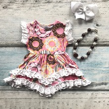 Été bébé filles tenues dress ruches Beignet courtes en coton dentelle boutique vêtements enfants portent ensembles assortis mignons accessoires