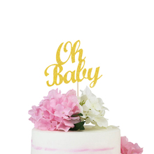 OH BABY Glitter Cake Topper Baby Shower Gold Bling Party Decoration Supplies