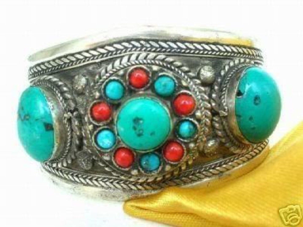Hot sell Noble- Tibet Silver Coral Beads Cuff bracelet new >>free shipping