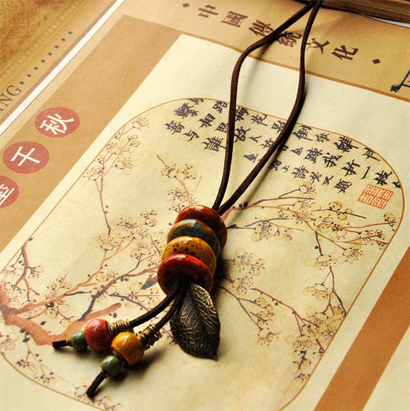 Da Vòng Cổ Gốm Hạt Mặt Dây Leaf Charm Dài Áo Len Chain Strand Choker Leaves Tassel Phụ Nữ Men Fashion Jewelry
