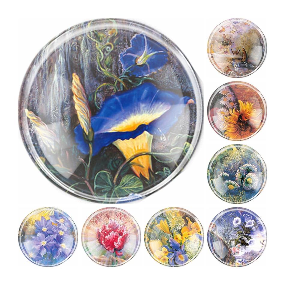 Fait à la main 6 taille verre matin gloire fleur Flatback Camo Cabochon bombé bijoux à bricoler soi-même charme Photo pendentif réglage