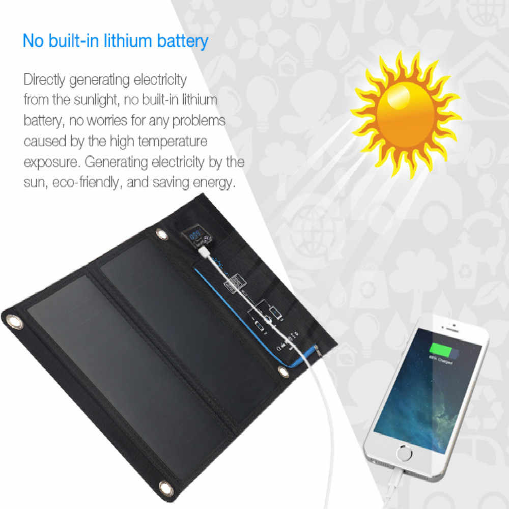 15W Solar Panel Solar Cells Dual USB Solar Charger Batteries Phone Charging for Sony iPhone 4 5 6 6s 7 8 X Plus iPad